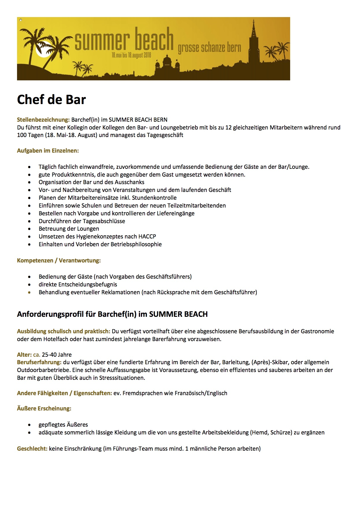 Job Portal – Swiss Barkeeper Union